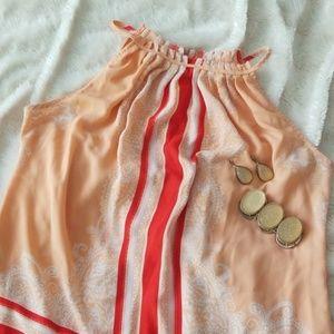 New York & Company orange tie sleeveless top